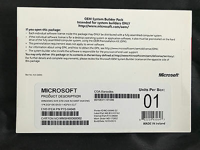 Microsoft Windows Server 2008 R2 Standard 64 bit 1-4 CPU | 5 Clt New!