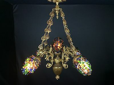 Exceptional Very Heavy Rare Antique French Murano Grapes Bronze Chandelier Light