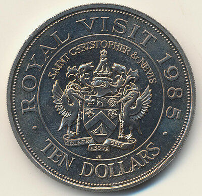 1985 10 Dollars St Christopher & Nevis Unc. Royal Visit Commemorative Coin