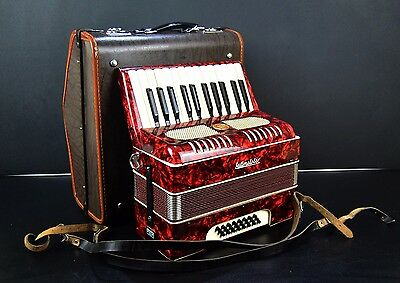 VINTAGE TOP GERMAN PIANO ACCORDION WELTMEISTER-24 BASS+CASE~Accordian~Akkordeon~