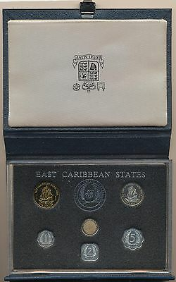 1986 East Caribbean Central Bank Proof Set With Coa  6 Unc. Coins Royal Mint