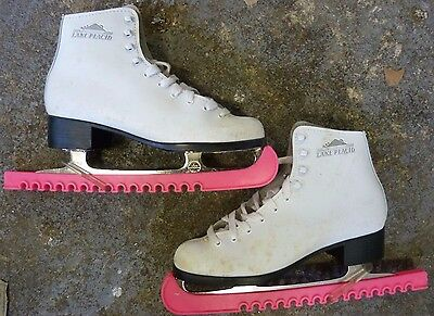 Vintage Lake Placid Ice Figure Skates Size US 7/UK 5 to 5.5 approx with Guards