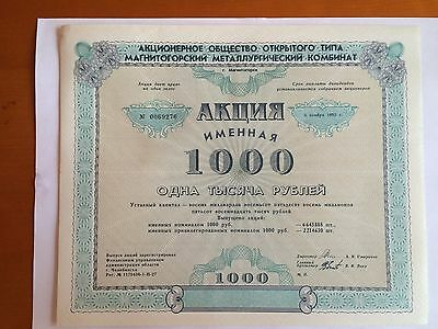 2 kind of russian shares iss.JSC 'Magnitogorsk Iron and Steel Works'-1000 Rubles