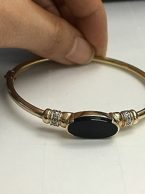 Vintage-Antique 14K Yellow Gold Onyx And Diamond Bangle Width 2.5''  For Woman