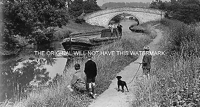Barge On Northern Section Oxford Canal 1953 Vintage Mounted Print Canal History