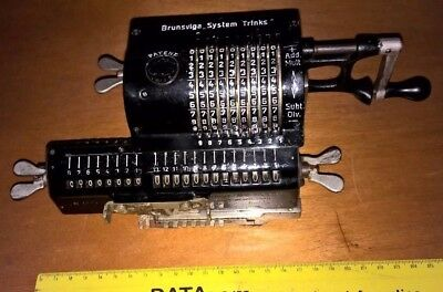 BRUNSVIGA SYSTEM TRINKS CALCOLATRICE  del 1919 ANTIQUE CALCULATOR