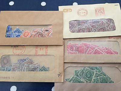 GB UK stamps from early Kings period incl mid and top values in bags oiff paper