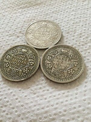 3 George V1 Indian Silver Rupees