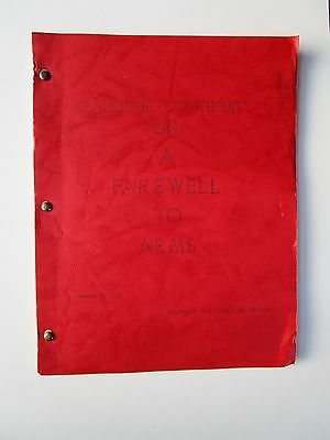 Rare orig A FAREWELL TO ARMS Ernest HEMINGWAY 1957 Ben Hecht SCREENPLAY Selznick