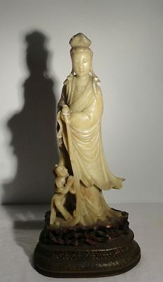 Antique Chinese Carved Soapstone Kwan Yin Guanyin Figure with Child As Is