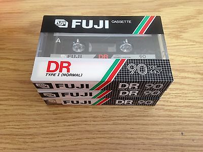FUJI DR TYPE I NORMAL 90 Blank Audio Cassette Tapes Lot of 3 New Sealed F6