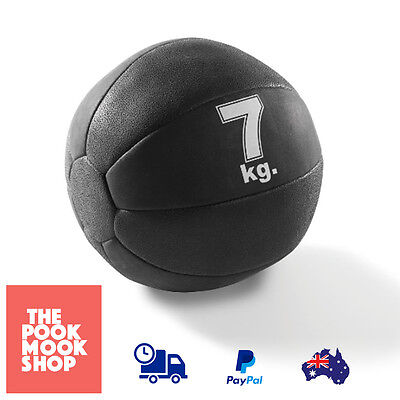 Rubber Medicine Ball Black 7kg AB HOME Workout Fitness Weighted Yoga Exercise