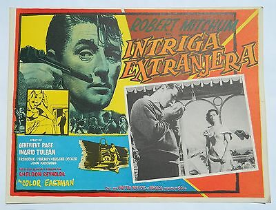 Vintage Rare Foreign Intrigue Mexican Lobby Card Robert Mitchum Genevieve Page