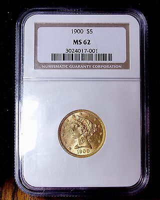 1900 5 Dollar Half Eagle  NGC  MS62  GOLD