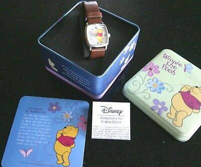 Winnie the Pooh Wrist Watch Disney's Tin Great Kids Gift Learn Time Present Band