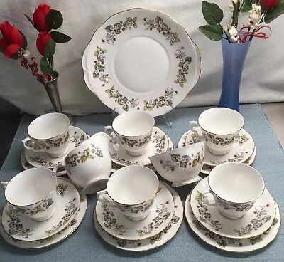 Royal Vale Wild Strawberry pattern #8370 - bone china 21 Piece Teaset