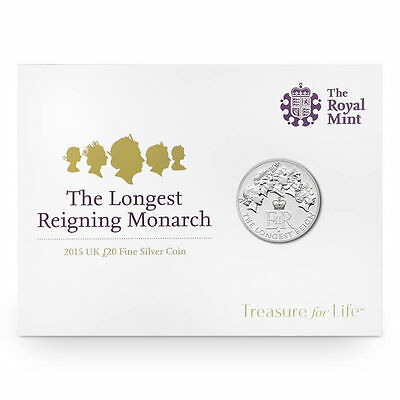 The Royal Mint Longest Reigning Monarch 2015 UK £20 Fine Silver Coin - UK1520RM