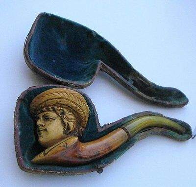 Carved Meerschaum Pipe Lady With Feathered Hat Original case