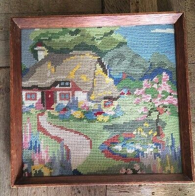 Vintage Tapestry / Needlepoint Thatched Cottage And Garden Framed