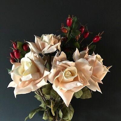 Bunch of 4 Cream Blush Faux Silk Roses & Artificial Rose Hips Light Pink & Ivory