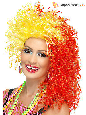 Ladies 80s Neon Crimped Wig Adult Crimp Fancy Dress Costume Red Yellow Accessory