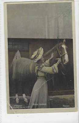 Horse (Related) Postcard-Marie George and Horse-