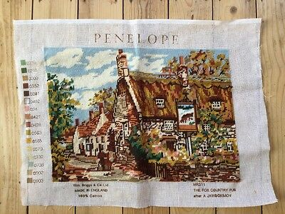 Vintage Tapestry Needlepoint Panel 'The Fox Country Pub'  Completed