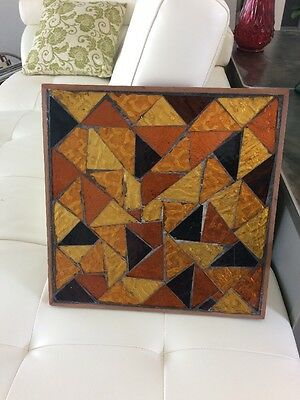 """Vintage 16 X 16"""" Stained Art Glass Framed Wall Hanging Decor"""