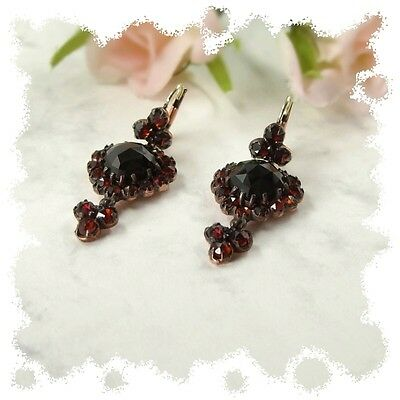 Vintage garnet heart earrings w/14ct gold wires in Victorian style  ГРАНАТ E#PK