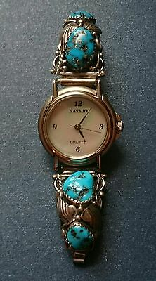 NAVAJO Ladies Silver Turquoise WATCH TIPS / Complete NATIVE AMERICAN