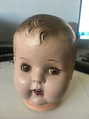 VINTAGE, ANTIQUE Composition Doll Head, Working eyes that move!
