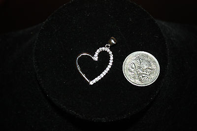 As New Sterling Silver And Diamond Heart Pendant
