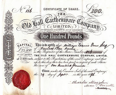 Share Certificate 1876 Old Hall Earthenware Co Pottery  Potteries Hanley Meigh