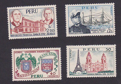 Perù 1957 Airmail French exhibition ships  navi monuments MH * OG linguellati