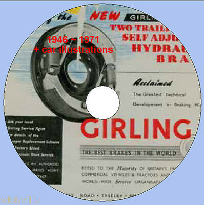 Girling Brakes Information circa 1946 ~ 1971 DVD ROM