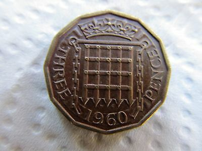 1960 Queen Elizabeth II brass  3d threepence
