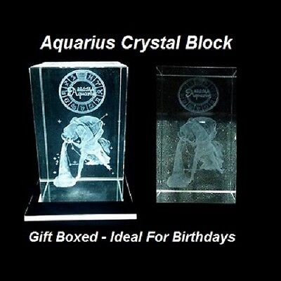 Laser 3D Etched Crystal Block / Aquarius / Ornament / Gift / Paperweight - Boxed