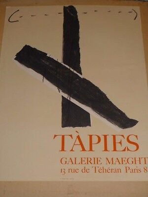 AFFICHE LITHOGRAPHIE ANTONI TAPIES - GALERIE MAEGHT vers 1970 - 50 x 65 cm