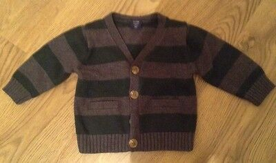 Babygap boys knitted cardigan 6-12 months grey green stripes V necks Elbow Patch
