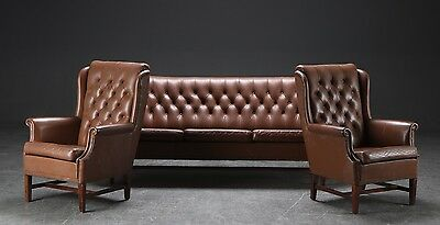 Danish 3 Seater Sofa With 2x Armchairs In Brown Leather