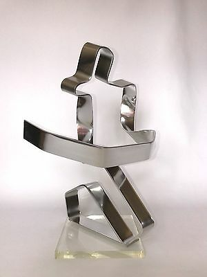 Dan Murphy Sculpture THE CYCLIST 1976 Mid Century Modern Aluminum On Lucite Base