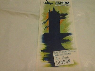 Sabena Belgian Airlines Air Route brochure to London 1950's