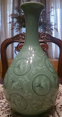 "10"" Celadon Crane Green Crackle Glazed Ceramic Pottery Korean Crane Vase Signed"