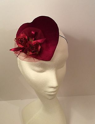 Vintage Style Valentine's Heart Cocktail Hat/Fascinator With Rose Decoration