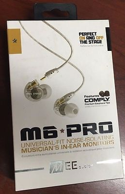 MEE audio M6 PRO Universal-Fit Noise-Isolating Musician's In-Ear Monitors Clear
