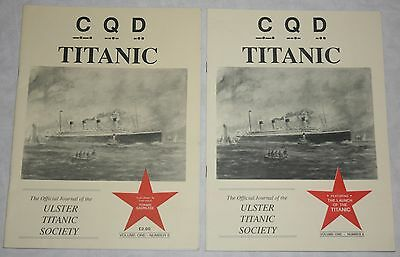 2 magazines CQD Titanic Official Journal Ulster Titanic Society 1990s White Star