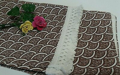 Amazing 70s Vintage Retro Curtains Brown Fringed Floral Camper Fabric Craft
