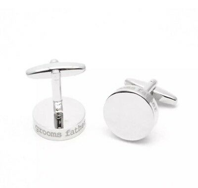 Wedding Cuff links Grooms Father. Round Laser Etched Cuff links