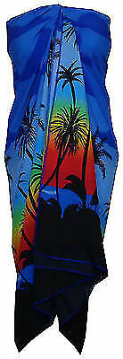 Sarong Women Scenic Coconut Printed Beach Swimsuit Wrap Plus Size Pareo