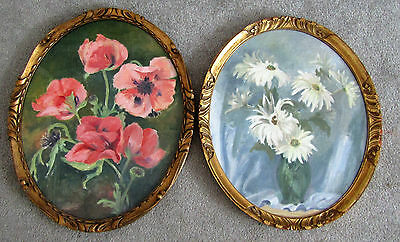 2 Original Antique Floral Paintings in Gold Oval Frames Large Signed